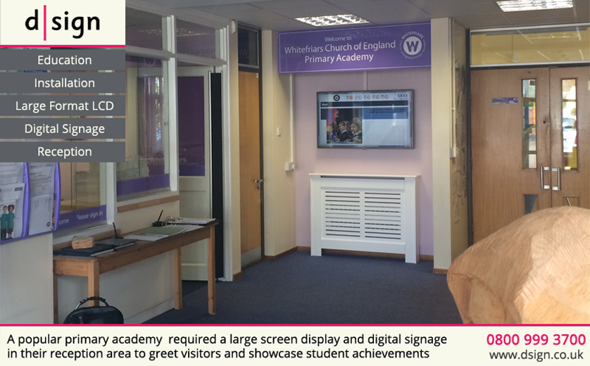 A popular primary academy required a large screen display and digital signage in their reception area to greet and showcase student achievements