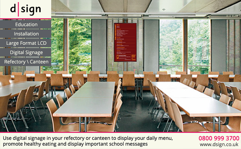 Use digital signage in your refectory or canteen to display your daily menu, promote healthy eating and display important school messages