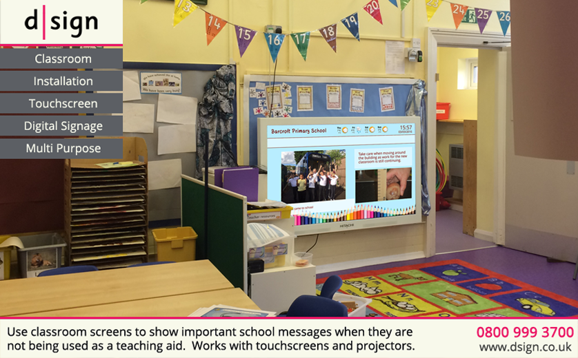 Use classroom screens to show important school messages when they are not being used as a teaching aid. Works with projectors and touchscreens