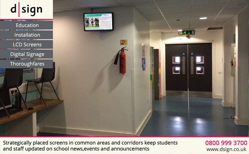 Strategically placed screens in common areas and corridors keep students and staff updated on news, events and announcements
