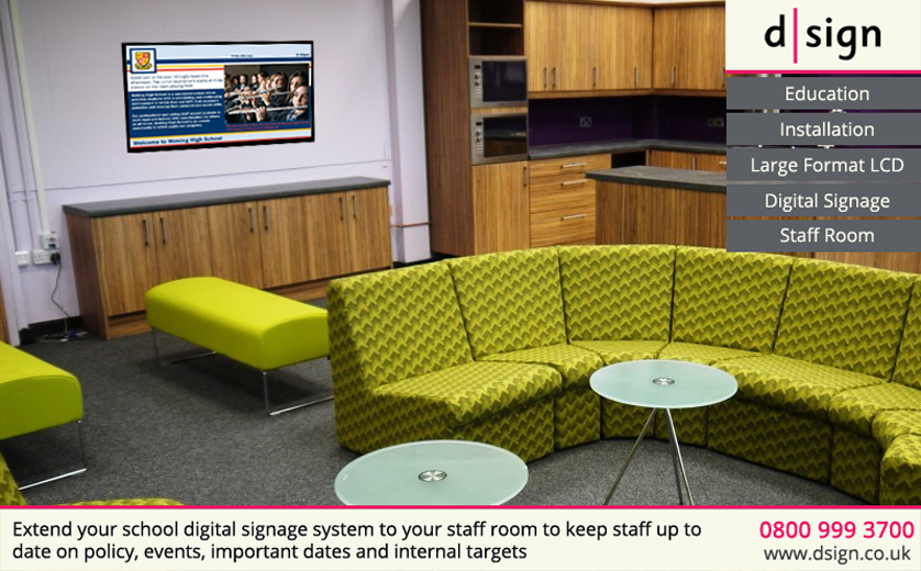 Extend your school digital signage system to your staff room to keep staff up to date on policy, events, important dates and internal targets