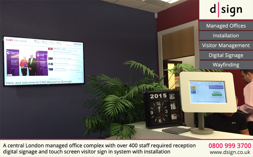 A cntral London managed office complex with over 400 staff required reception digital signage and touch screen visitor sign in system with installation