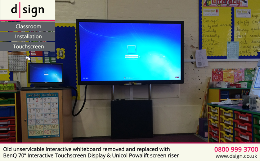 Old unservicable whiteboard removed and replaced with interactive touchscreen and electric screen riser