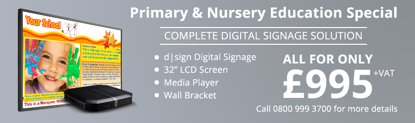 Primary and nursery digital signage for £995